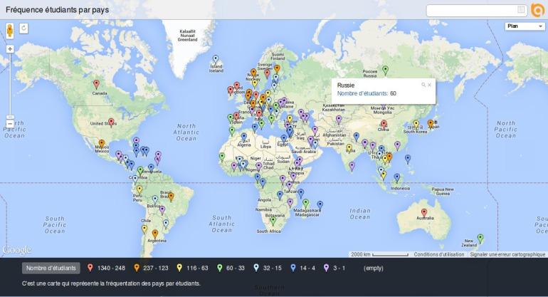 Fréquence étudiants par pays